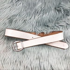 Vintage distressed white tan leather belt silver